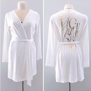 Victorias Secret White Cotton Knit Robe